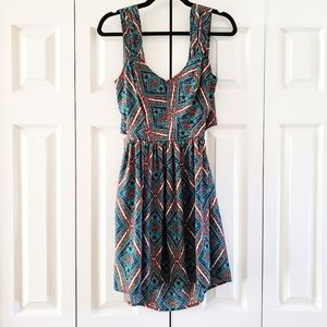 Band of Gypsies Multicolor Open Tie Back Dress Small